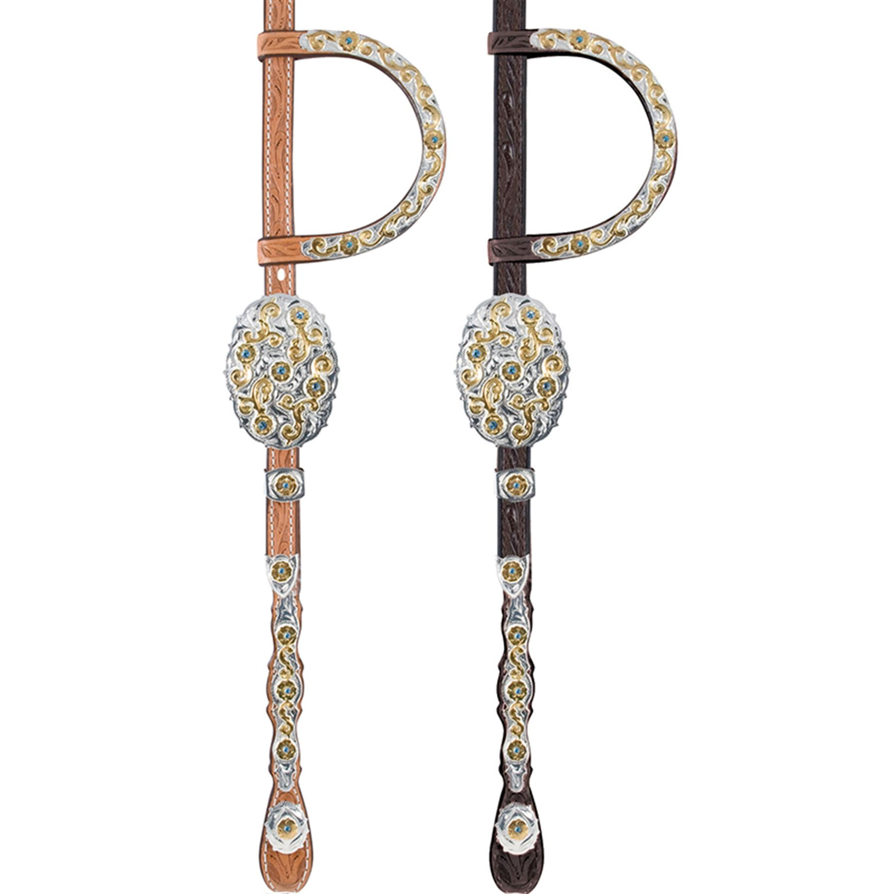 Billy Royal® Gold Scroll & Blue Stone Headstall