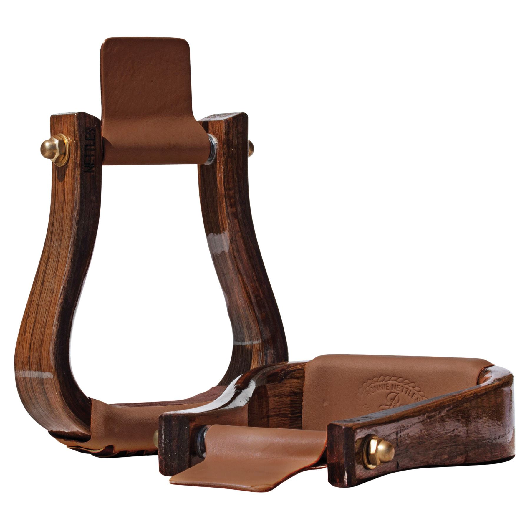 "Nettles 2"" Flatbottom Cherry Wooden Western Stirrups"