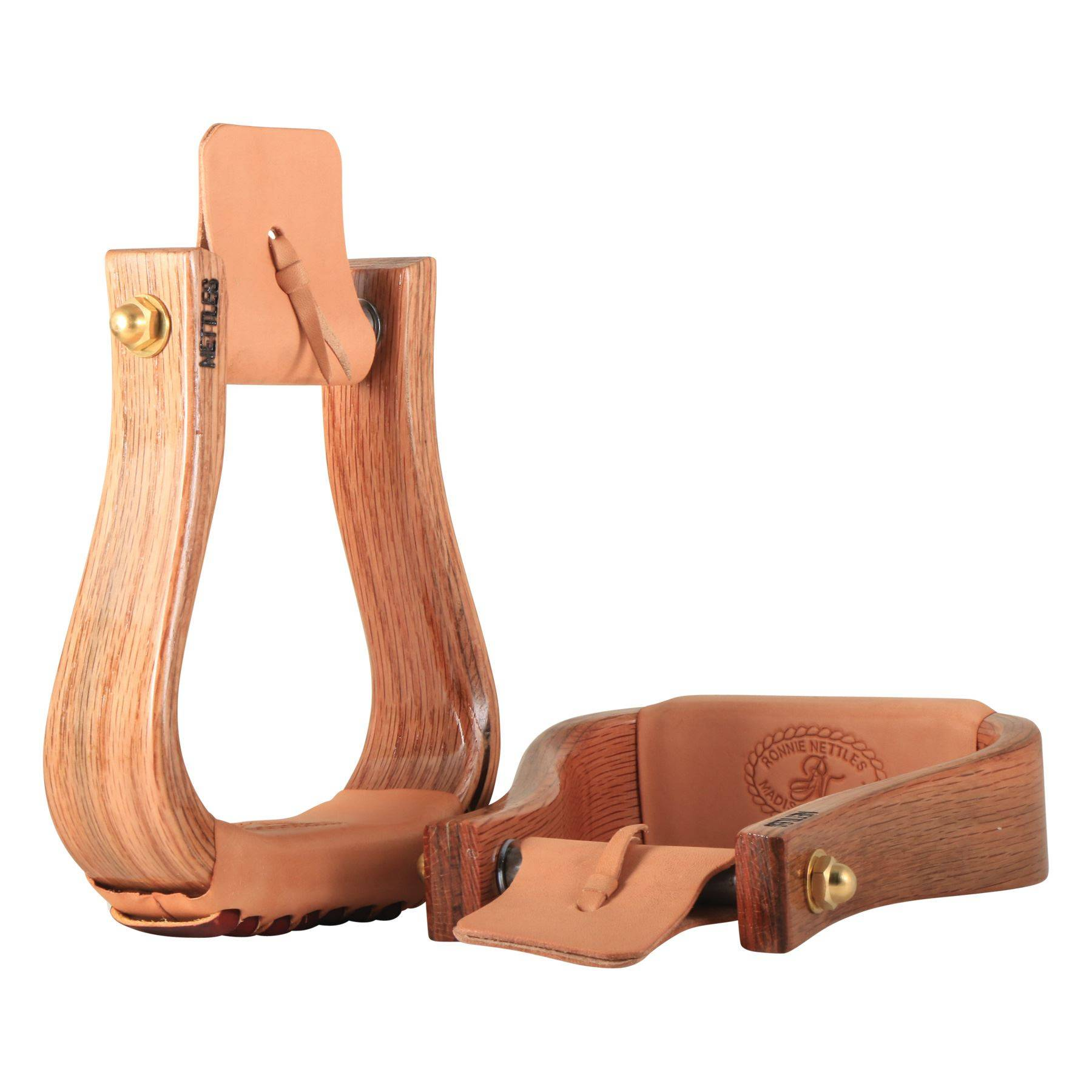 "Nettles 2"" Flatbottom Varnish Wooden Western Stirrups"