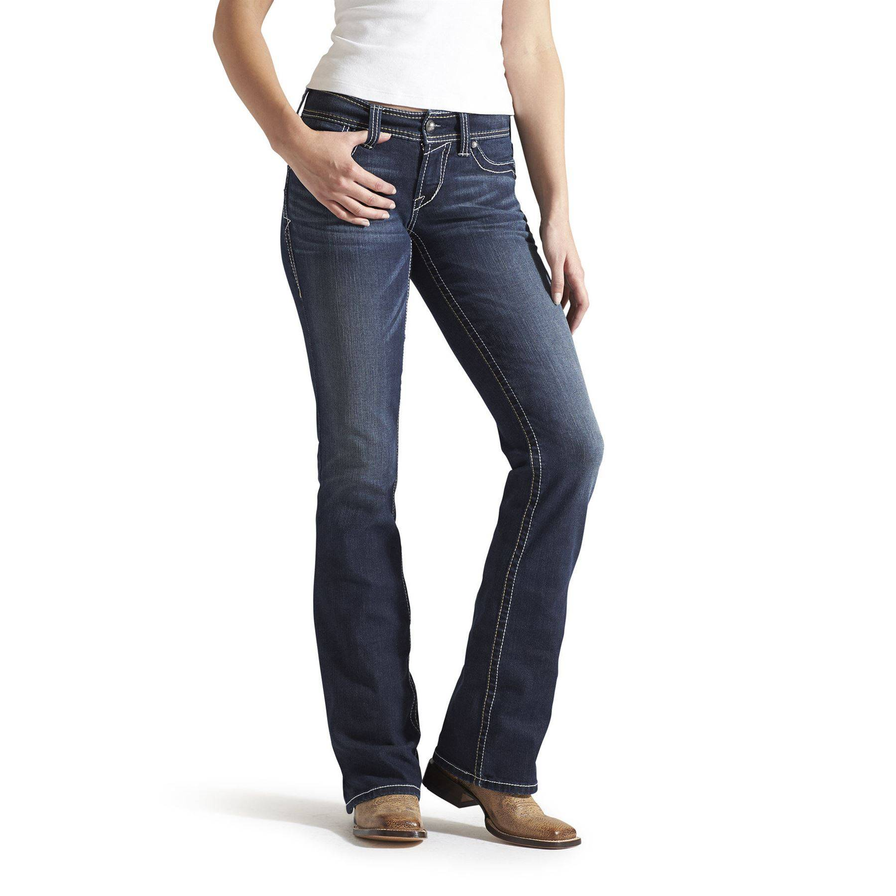Ariat Ladies Whipstitch Real Riding Jeans - Ocean