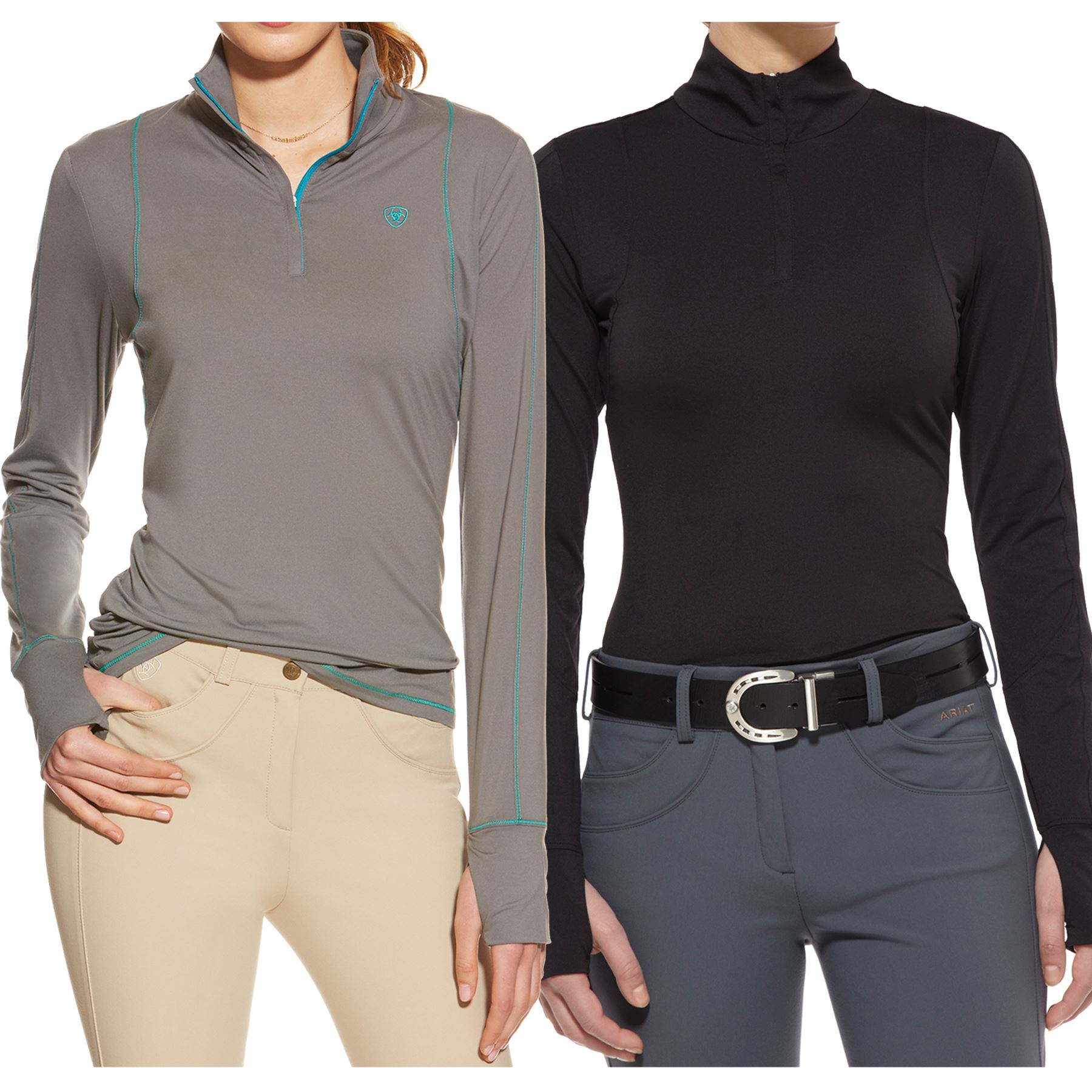 Ariat Ladies Lowell 1 4 Zip Long Sleeve Shirt In At