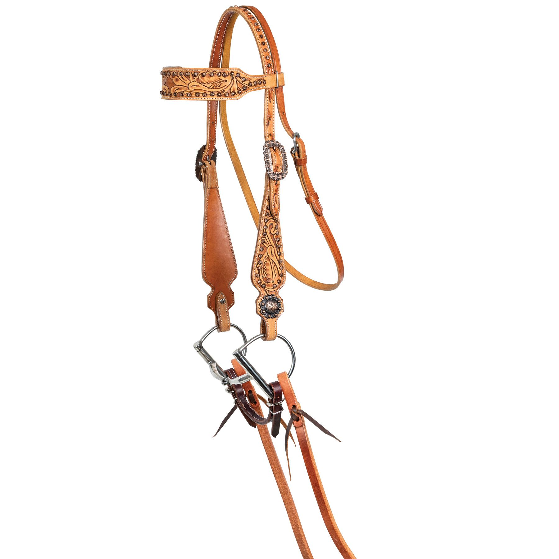 Double S Tooled Copper Browband Headstall