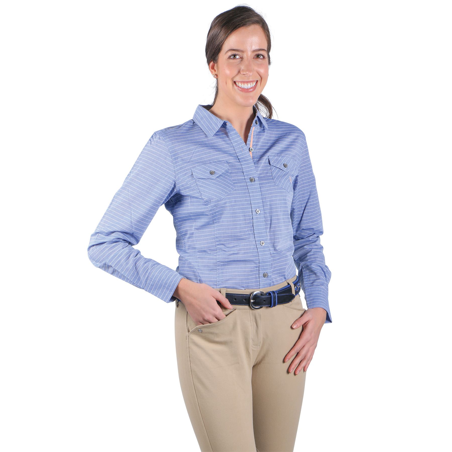 Ariat ladies chambray shirt in casual apparel at schneider for Chambray shirt women