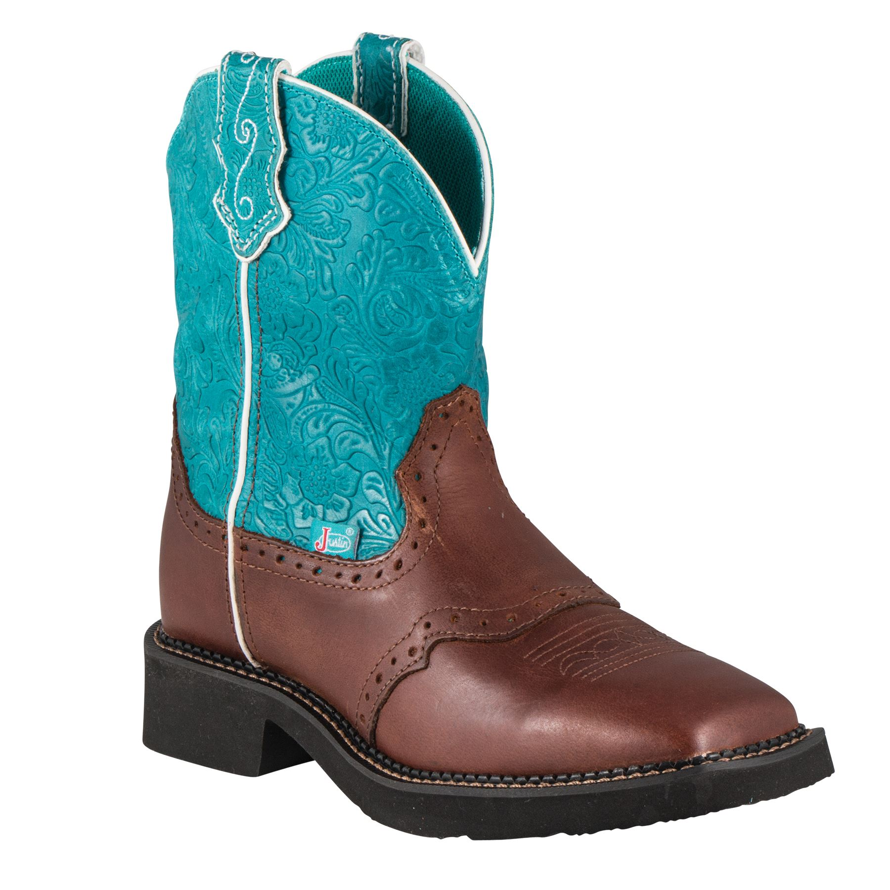 "Justin Ladies Gypsy 8"" Cognac/Teal Cowgirl Boots"