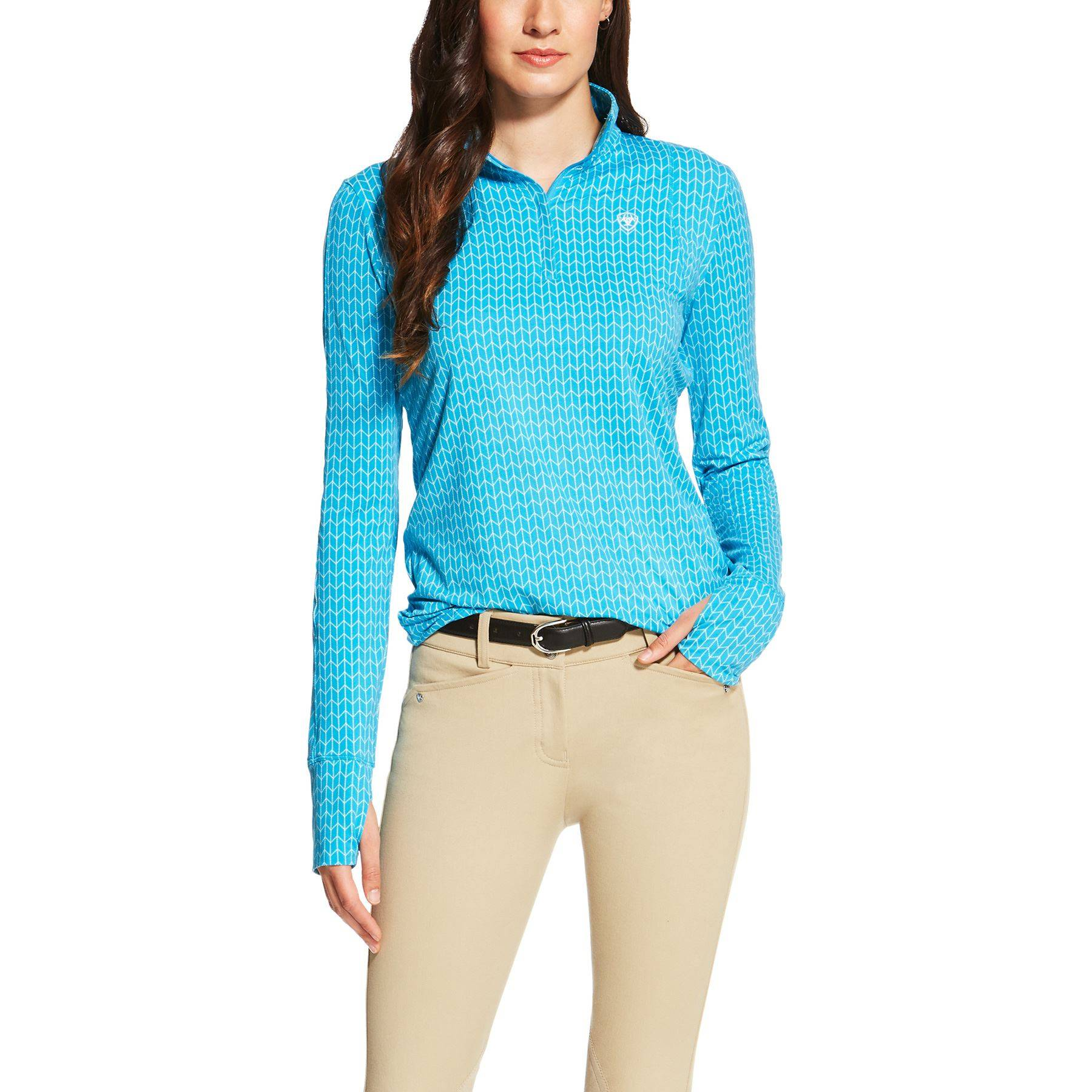Ariat Ladies Lowell 1/4 Zip Long Sleeve Shirt - Barrier Blue Print