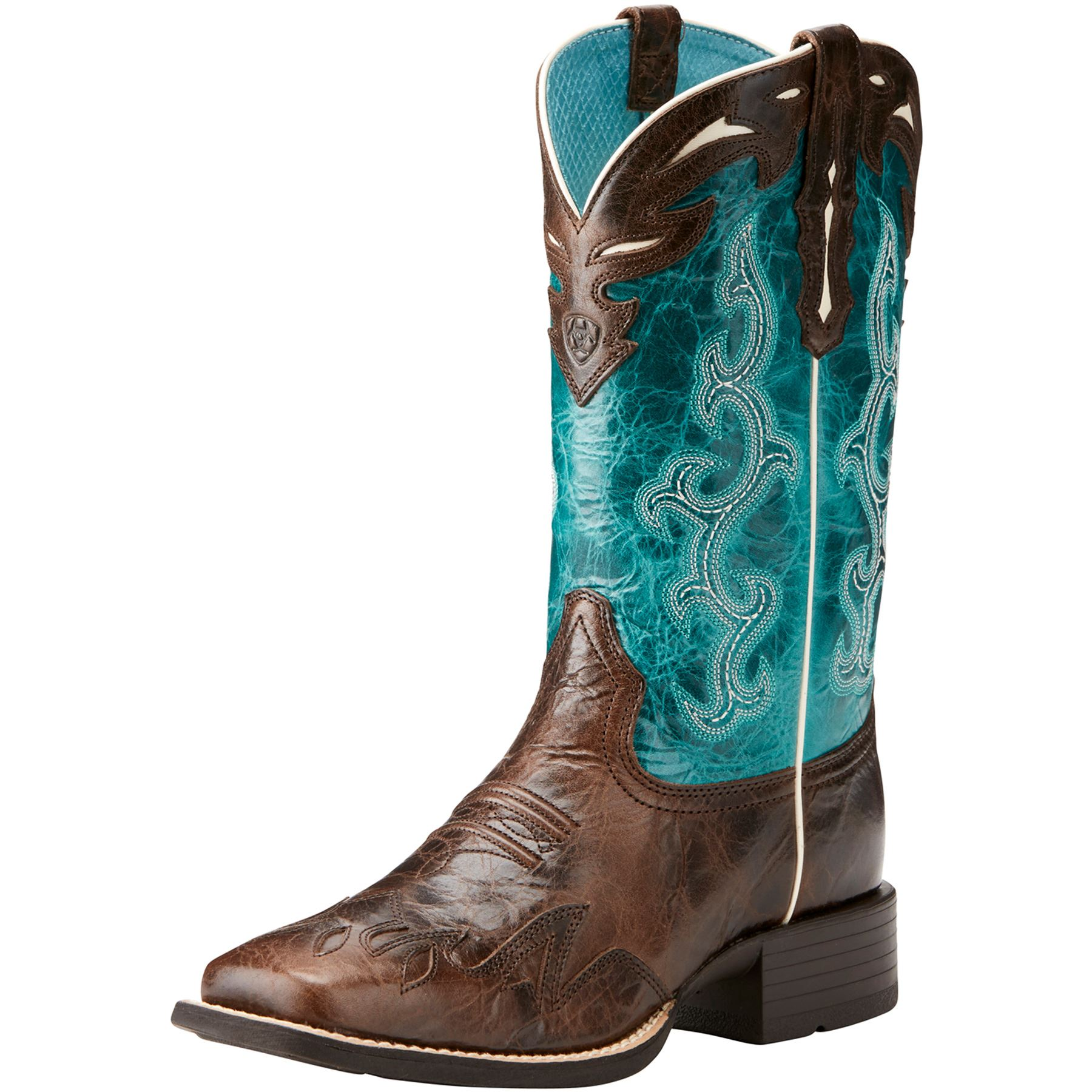 Ariat Ladies Chocolate Chip Turquoise Sidekick Western Boots