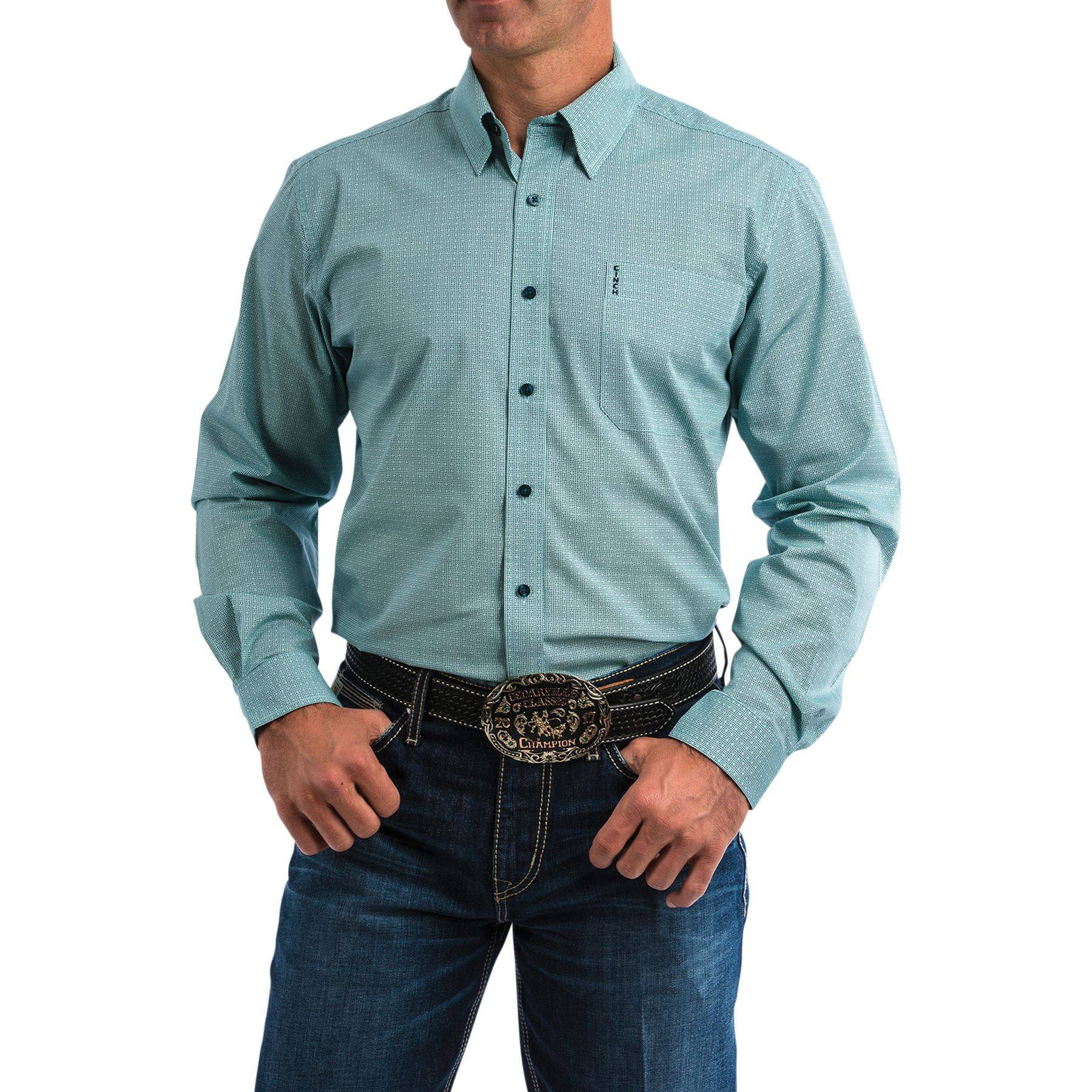 Cinch Mens Teal Printed Western Button Down Shirt In Apparelboots