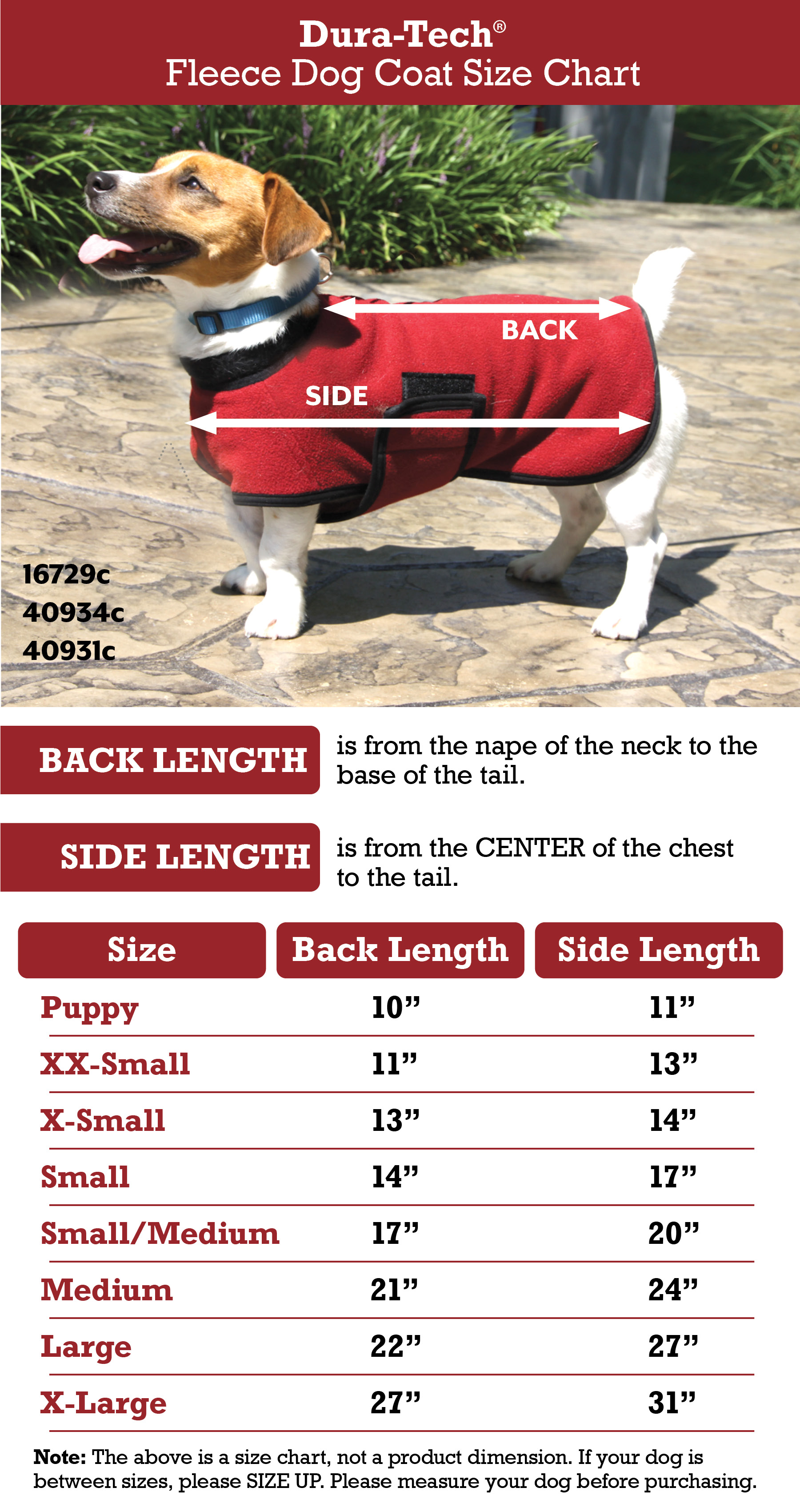 Dura-Tech® Fleece Dog Coat Size Chart