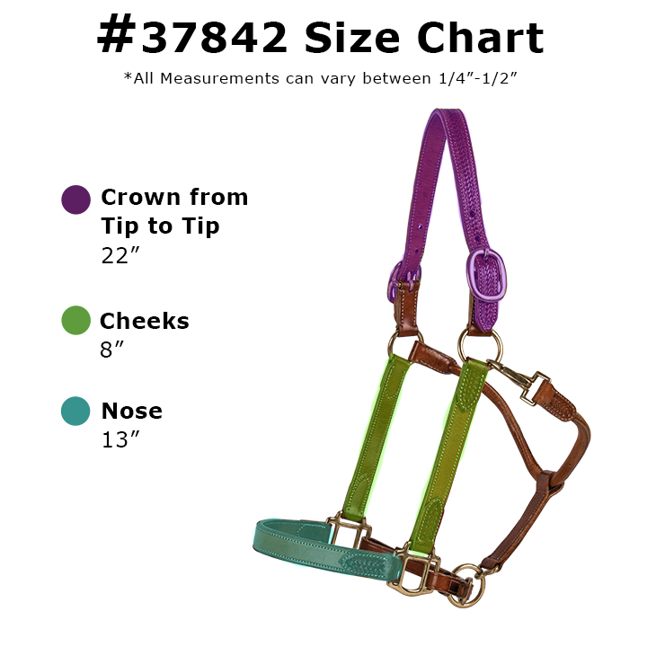 Double S Basketweave Leather Halter Size Chart