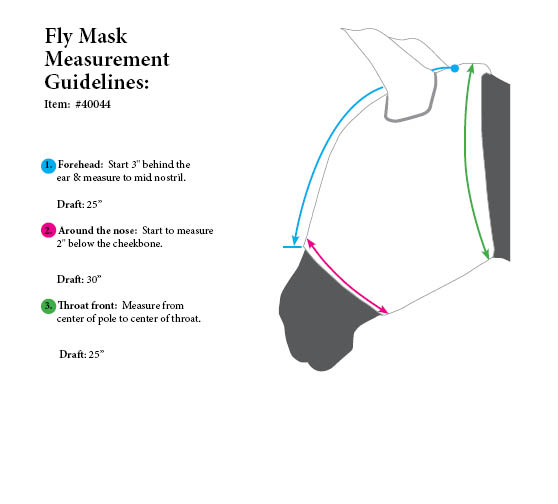 Draft Horse Fly Mask Size Chart