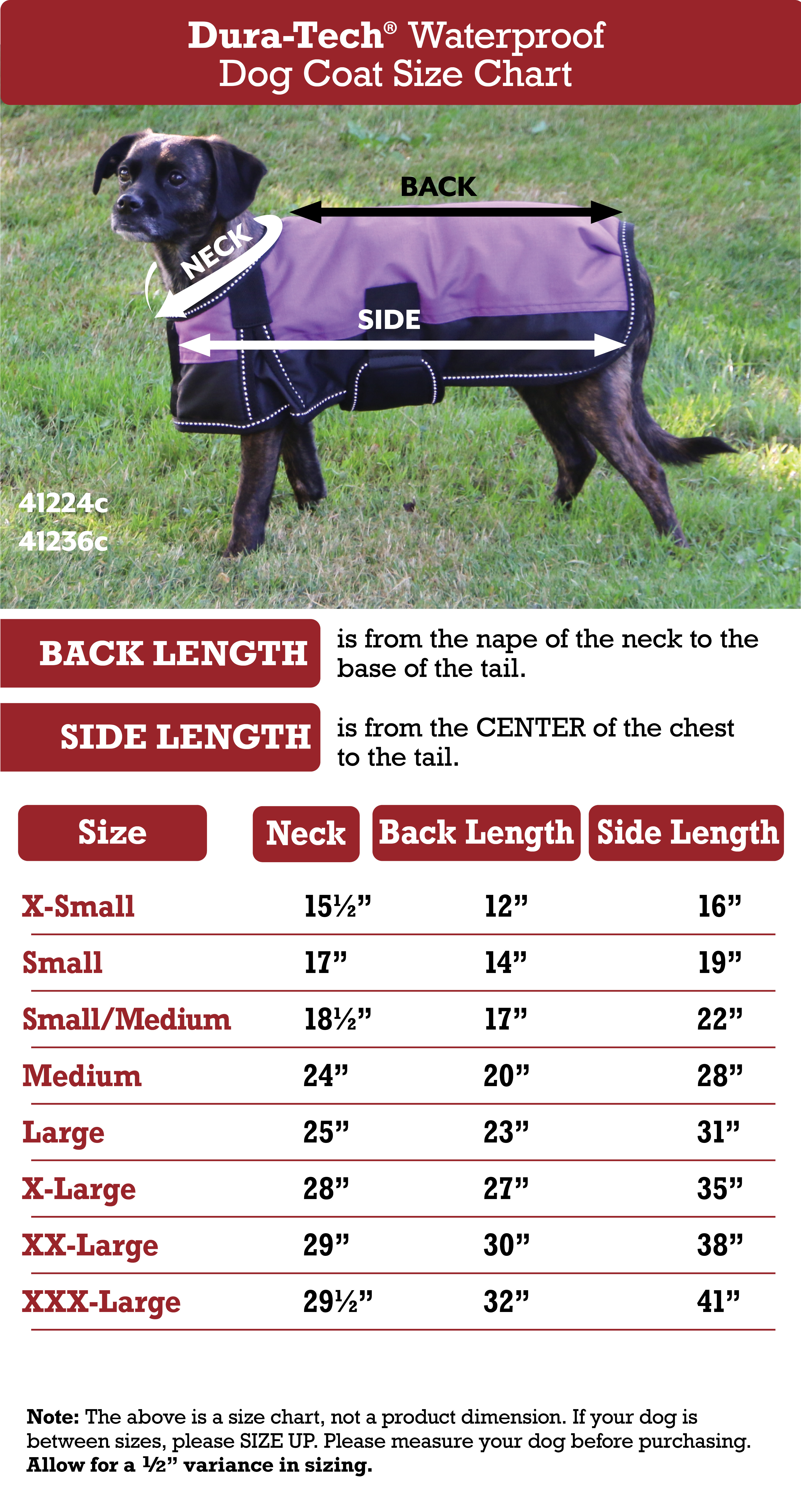 Dura-Tech® Insulated Waterproof Dog Coat Size Chart