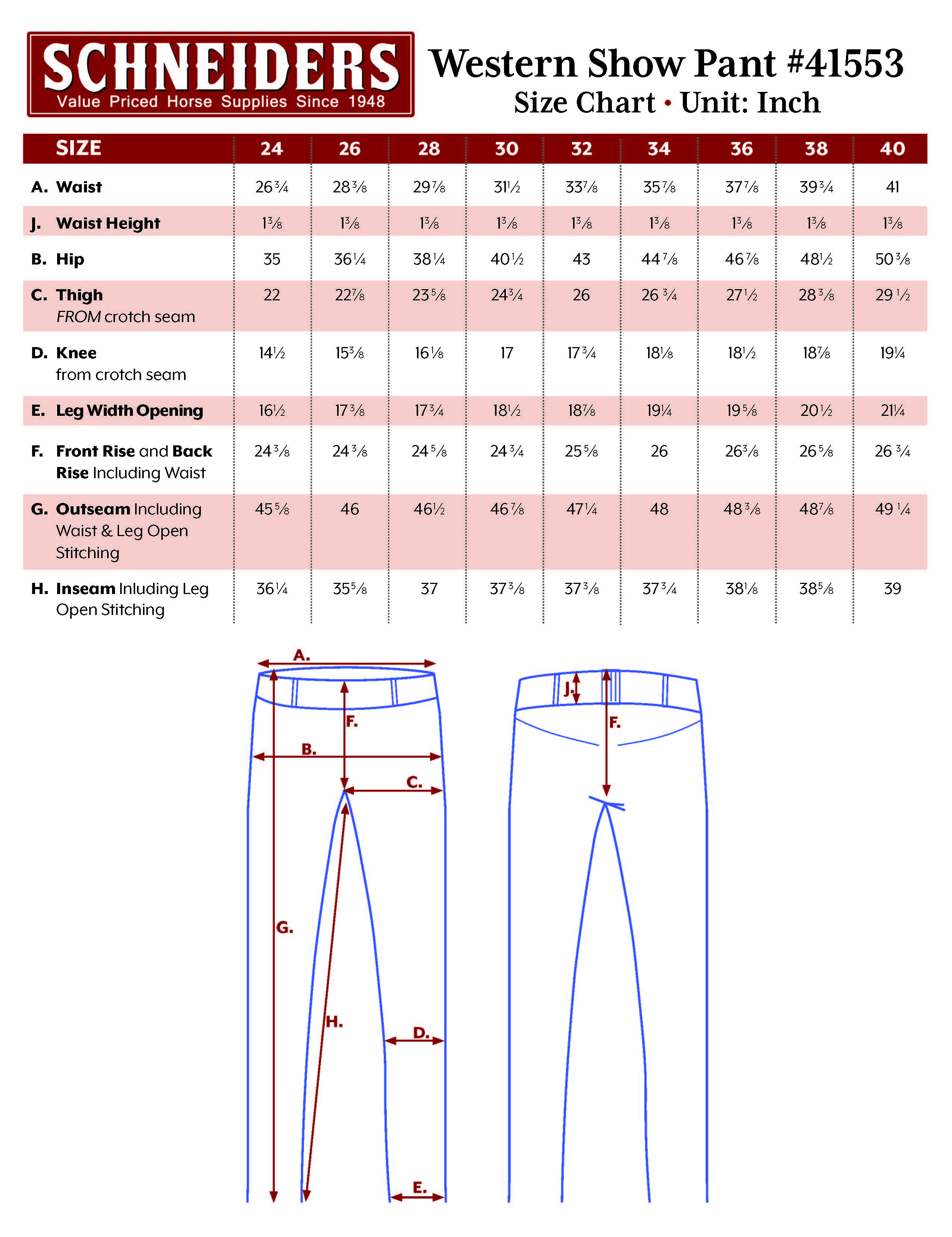Schneider's Western Stretch Riding Pants Size Chart