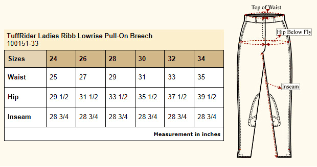 Tuffrider® Ladies Ribb Low-Rise Pull-On Knee Patch Breech Size Chart