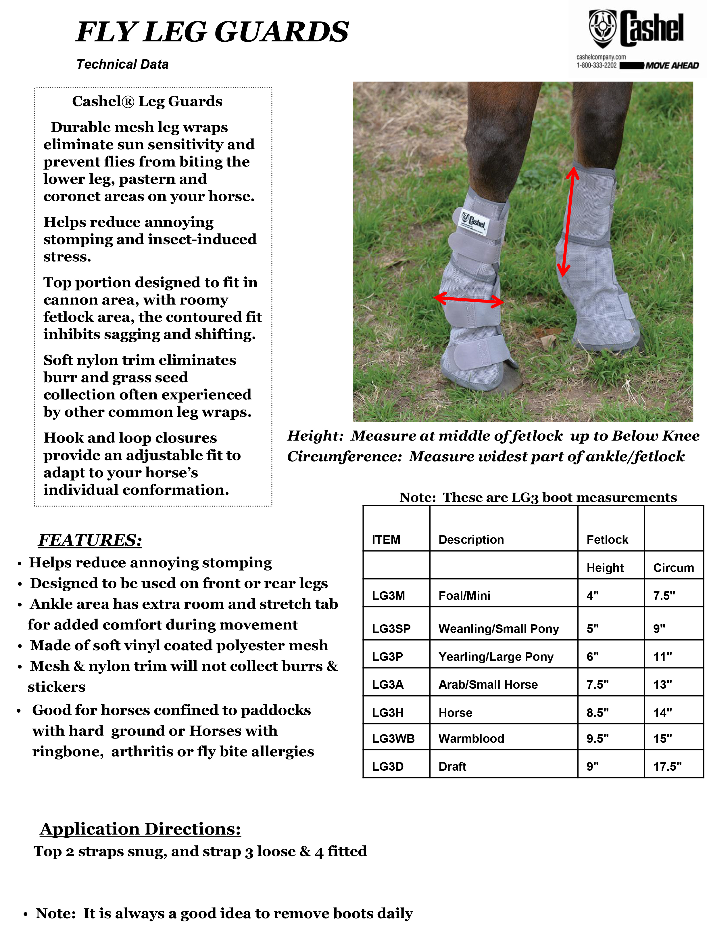Cashel® Crusader® Fly Leg Guards Size Chart
