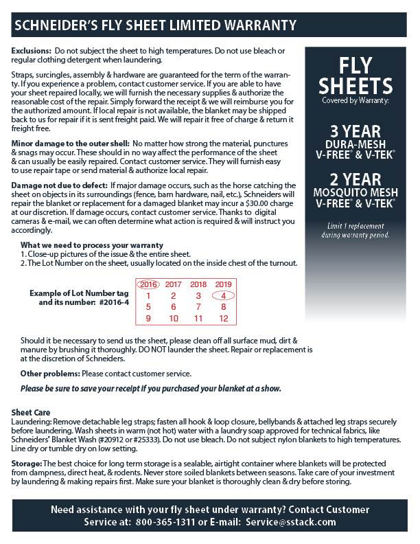 Fly Sheet Warranty Information