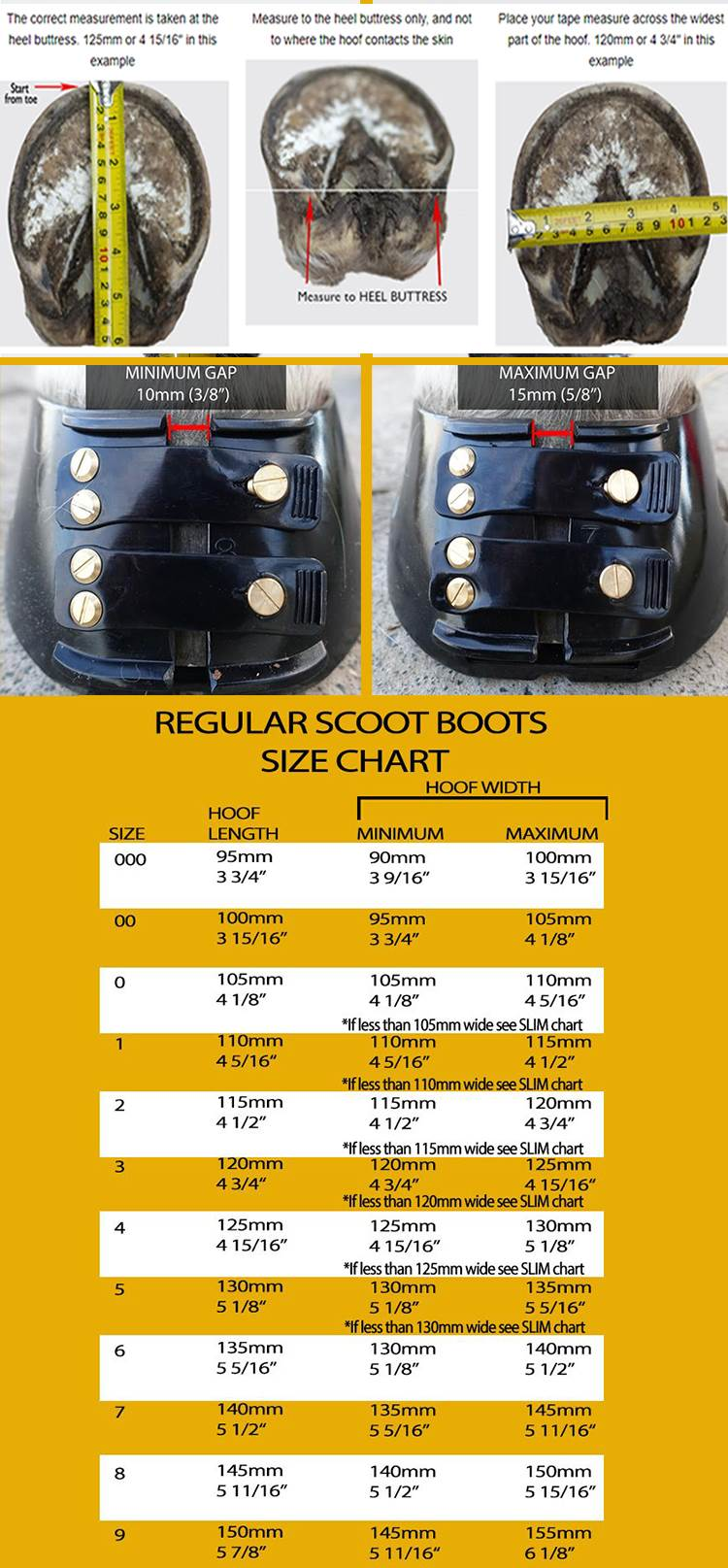Scoot Boots Hoof Boots Size Chart