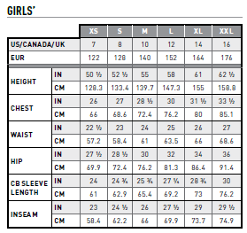 Ariat Girl's Size Chart