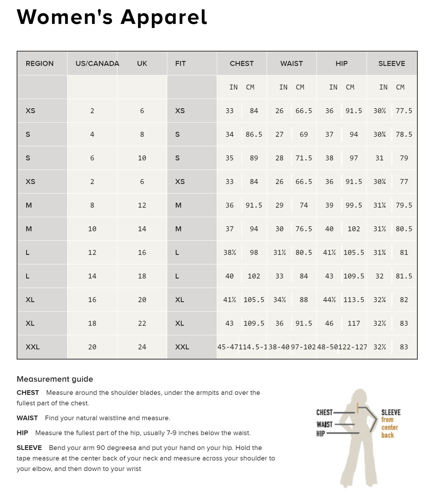 Ariat® Women's Apparel Guards Size Chart