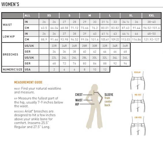 Ariat Women's Breeches Size Chart