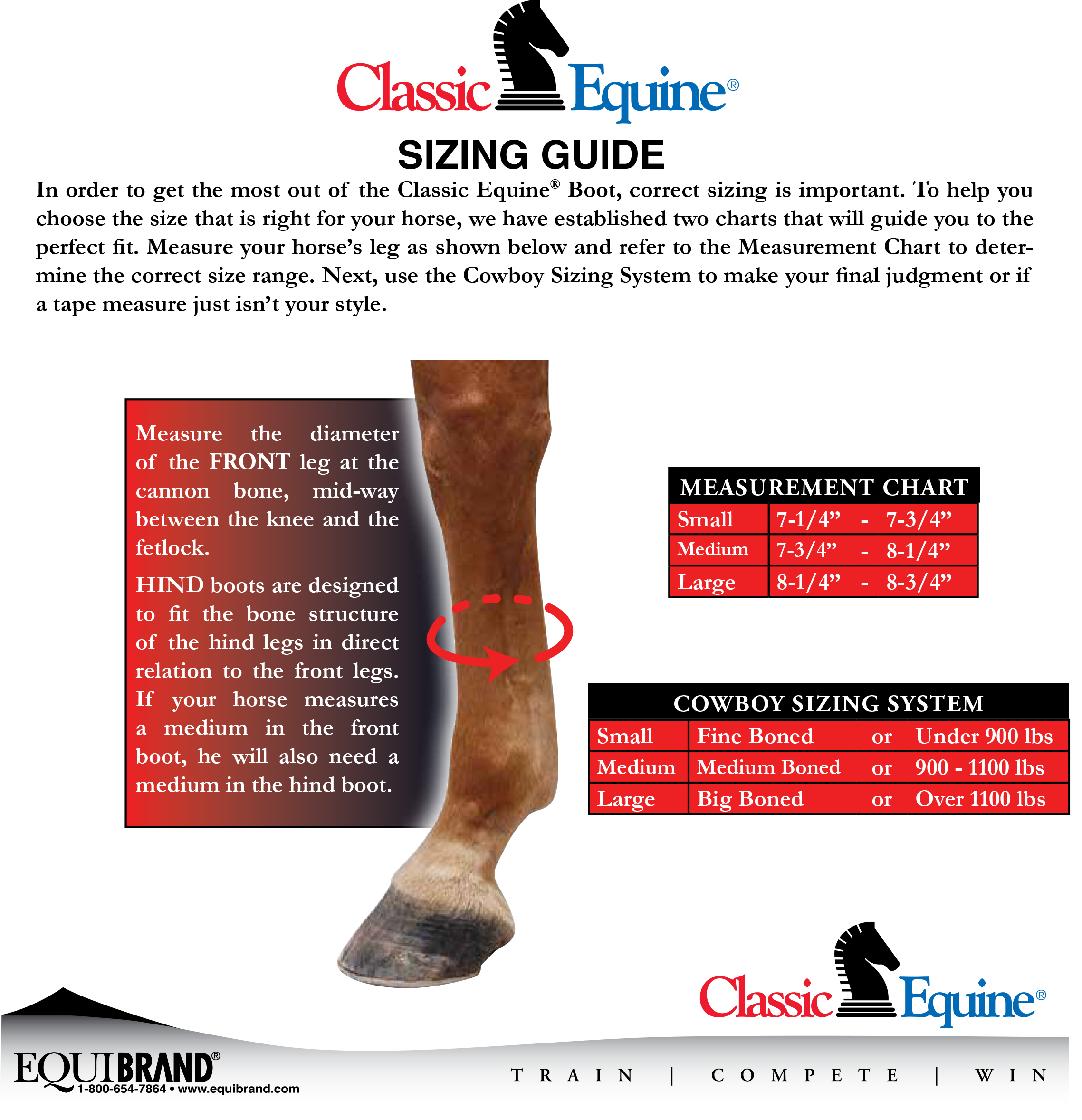 Classic Equine® Support Boots Size Chart