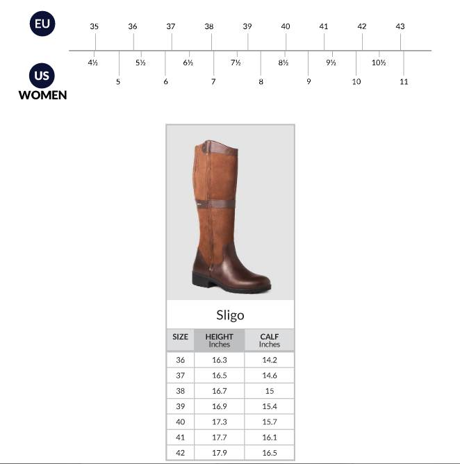 Dubarry Sligo Size Chart