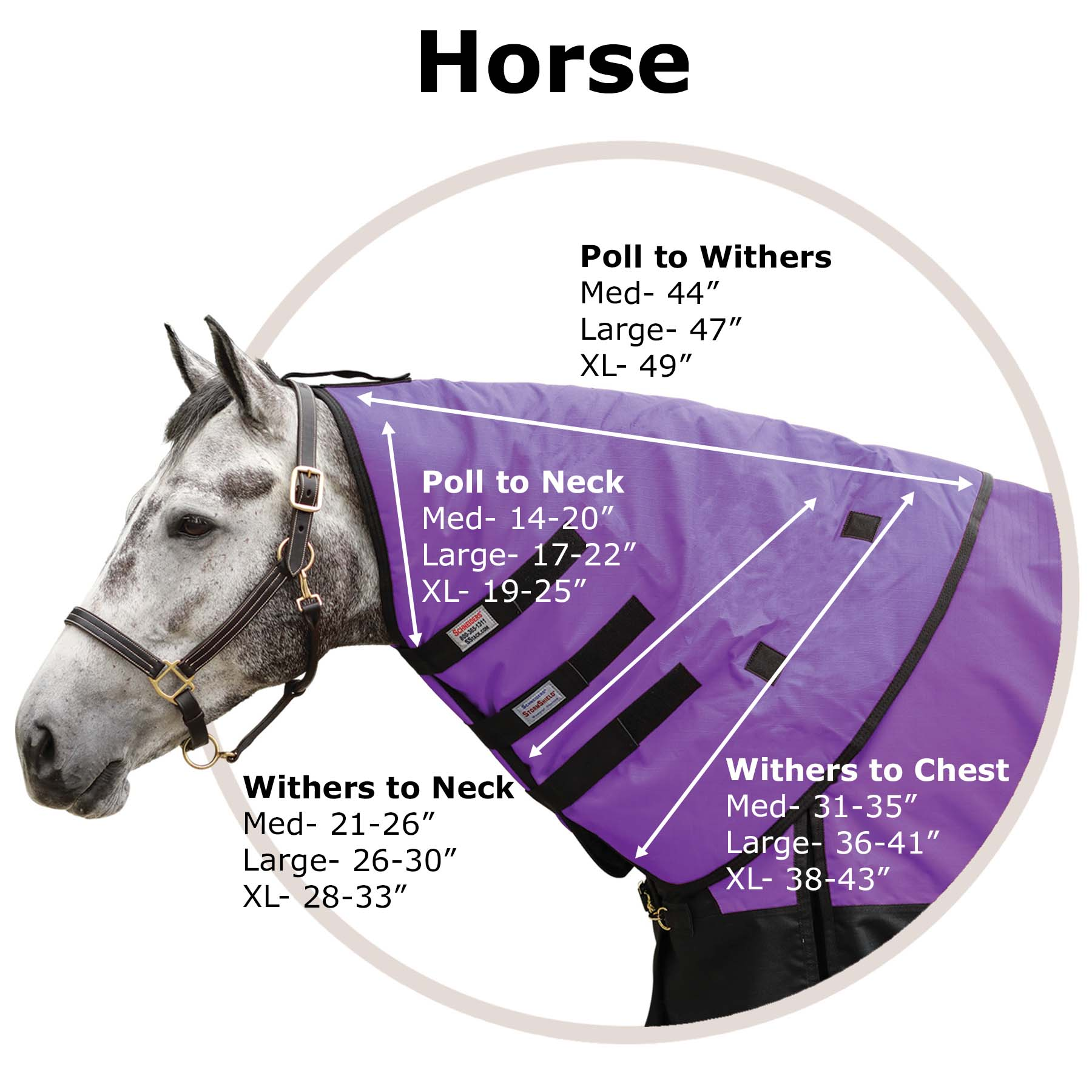 Horse Neck Cover Size Chart