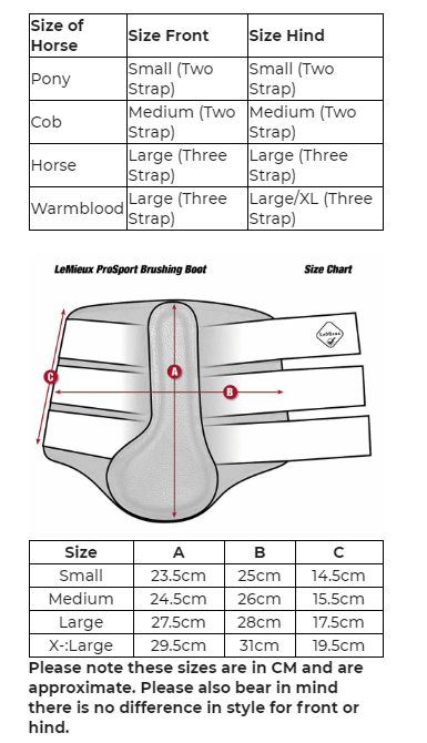 LeMieux® Grafter Brushing Boots Size Chart