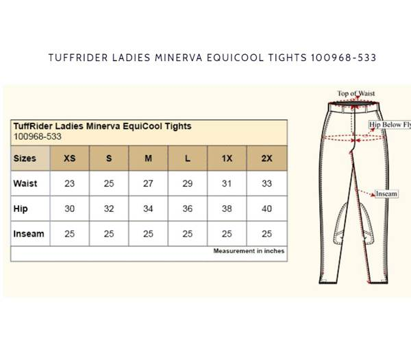 Tuffrider Ladies Minerva Equicool Tights Size Chart