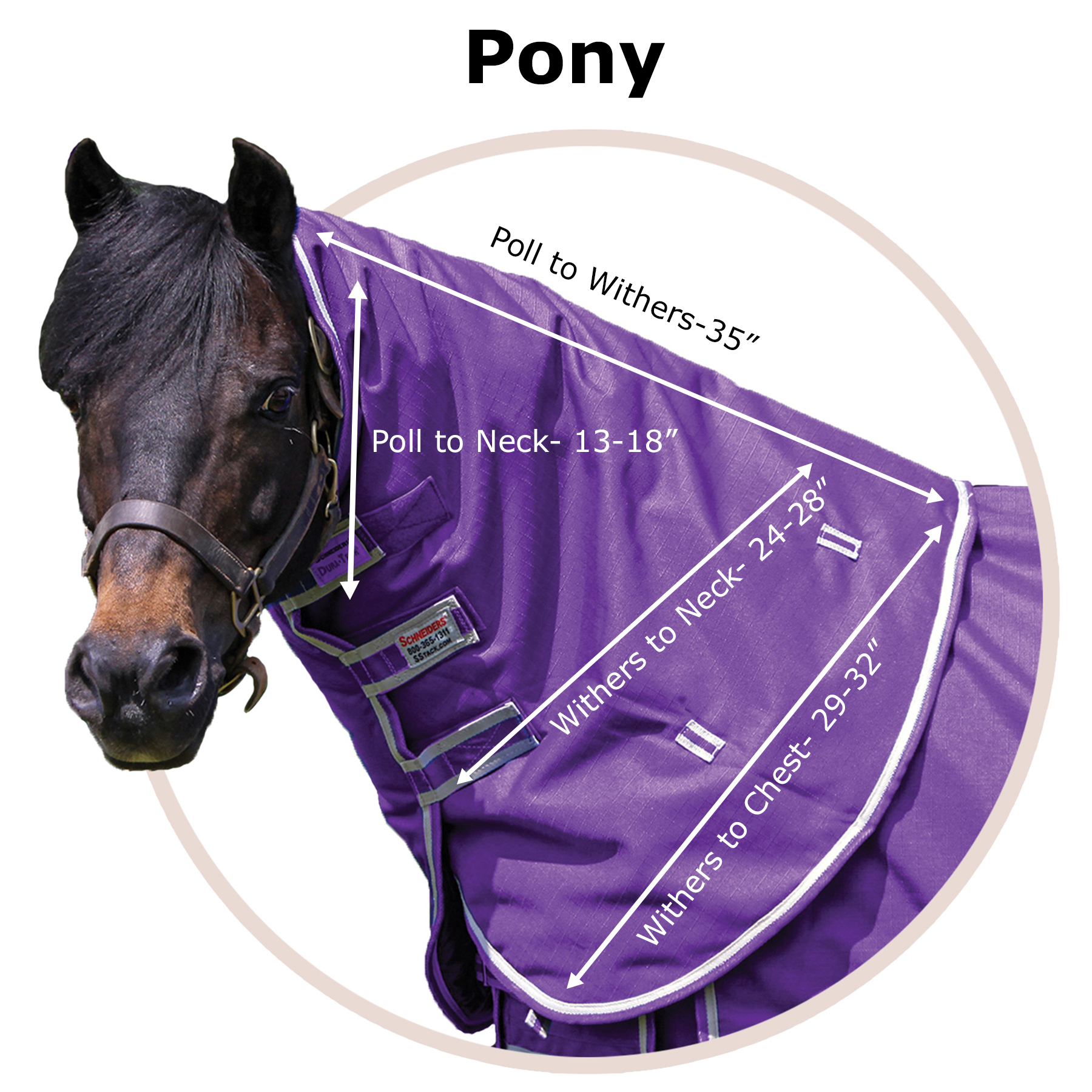 Pony Neck Cover Size Chart