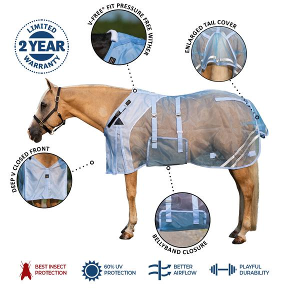 Mosquito Mesh Fitted V-Free® Bellyband Fly Sheet - Closed Front
