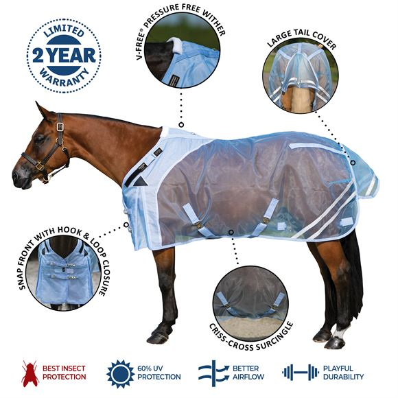 Mosquito Mesh Fitted V-Free® Open Front Fly Sheet
