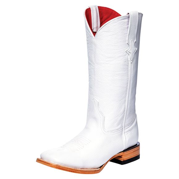 Ferrini Ladies Dyeable Square Toe White Western Boots