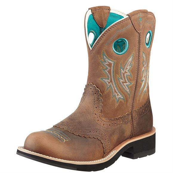 Ariat Ladies Fatbaby Cowgirl Boot (Powder Brown/Tan)