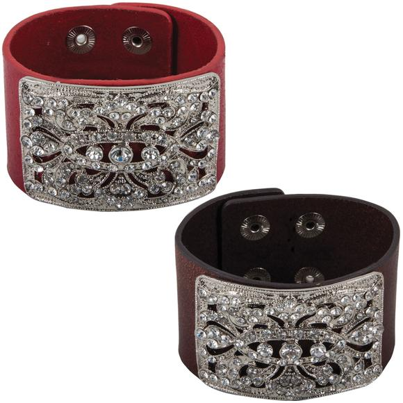 Crystal Wide Leather Cuff Bracelet