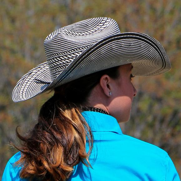 Rodeo King Rancher Black & White Straw Hat