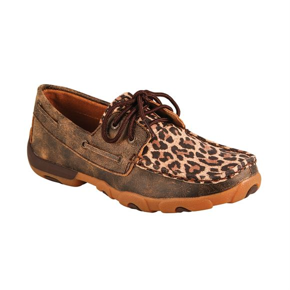 Twisted X Ladies Distressed Leopard Driving Moccasin