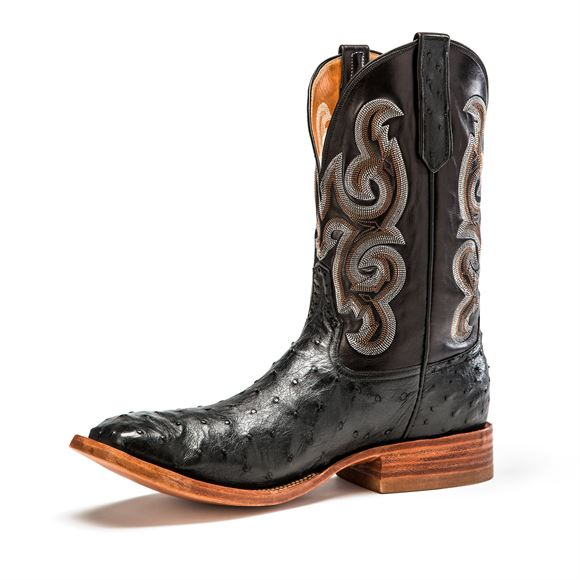 Rios of Mercedes Men's Black Full Quill Ostrich Western Boots