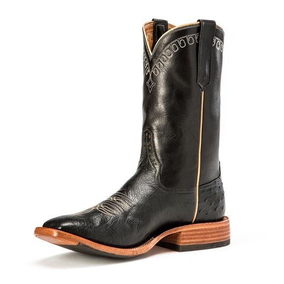 Rios of Mercedes Men's Black Smooth Ostrich Western Boots