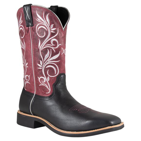 Twisted X Women's Top Hand Black/Maroon Western Boots