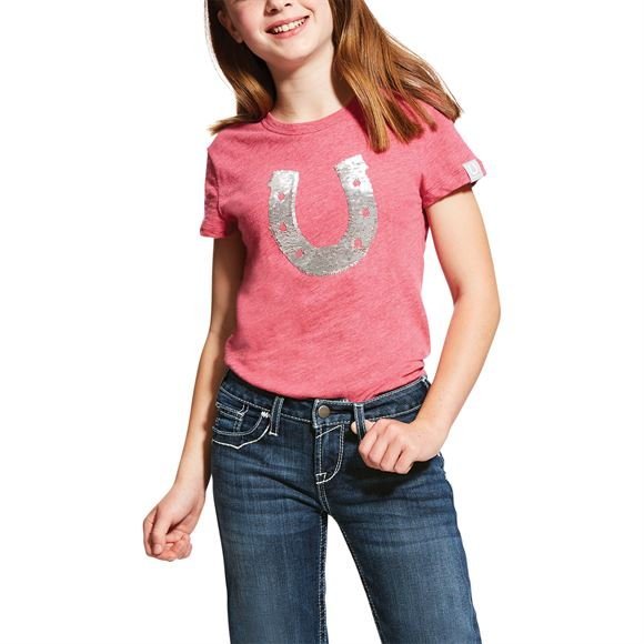 Ariat Girls Sequin Horseshoe Tee