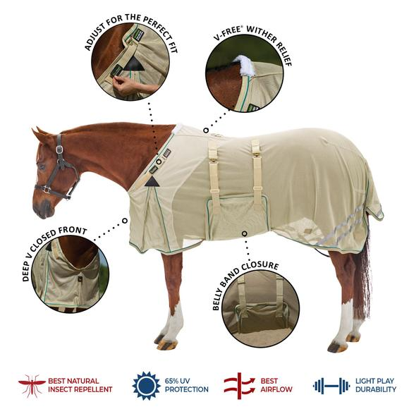 NaturalShield® Fitted V-Free® Closed Front Bellyband Fly Sheet