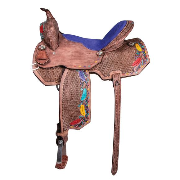 Double S Painted Feather Barrel Saddle