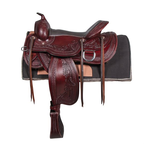 Beautifully hand tooled all leather trail saddle