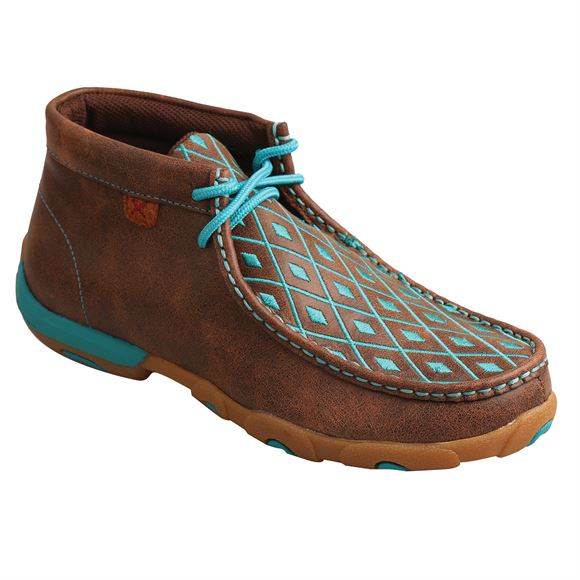 Twisted X™ Ladies Tall Top Diamond Turquoise Driving Mocs