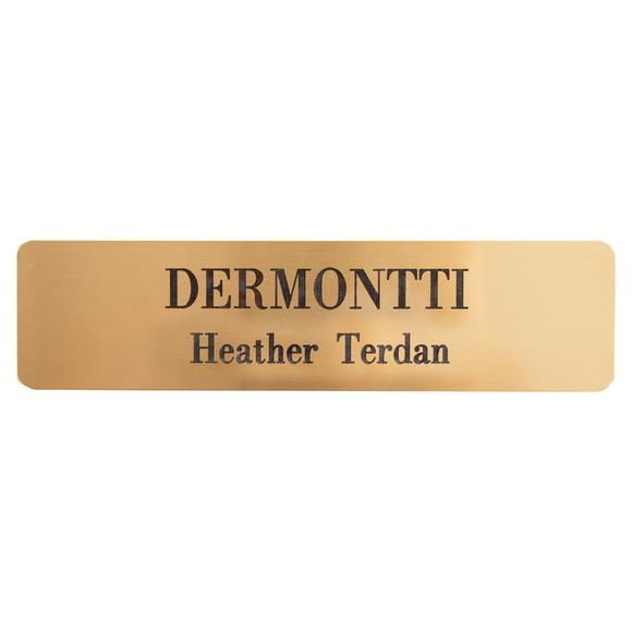 "Stick-On Brass Name Plate 2""W X 8""L with Adhesive Backing"