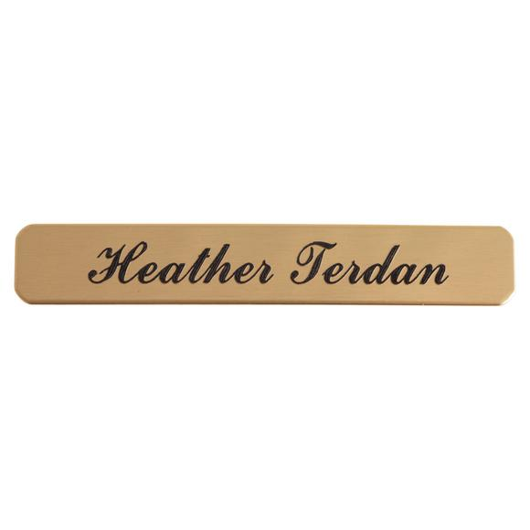 "Stick-On Brass Name Plate 1/2"" W x 3"" L with Adhesive Back"