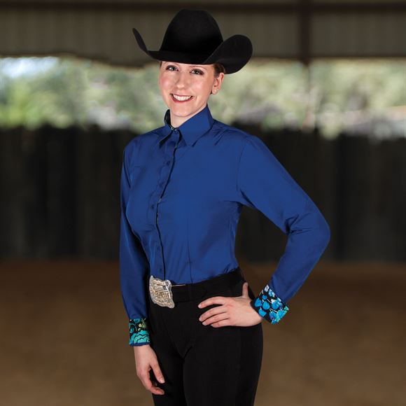 Cowgirl Royalty Solid Show Shirt with Printed Cuffs