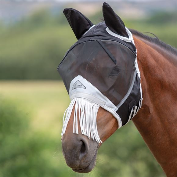 Shires Fine Mesh Fly Mask with Ears and Nose Fringe
