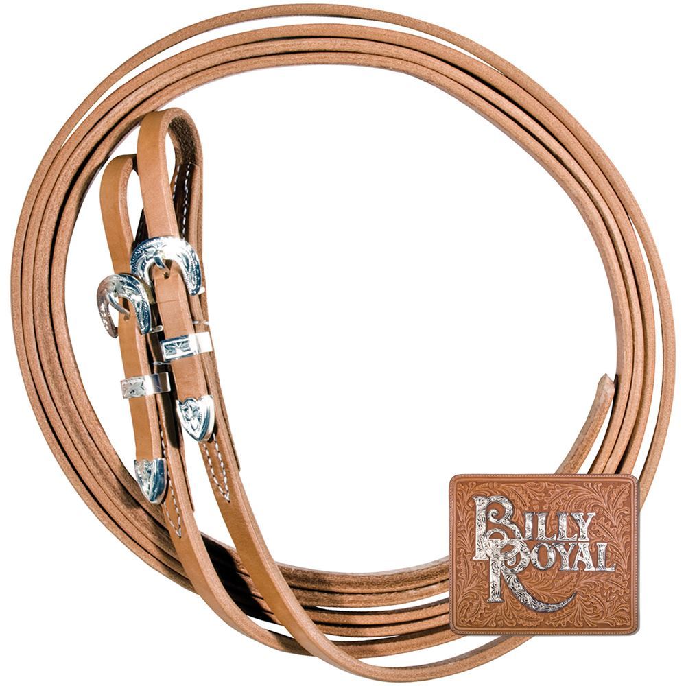 Billy Royal® Supreme Harness Leather Reins Silver Plate 5/8""