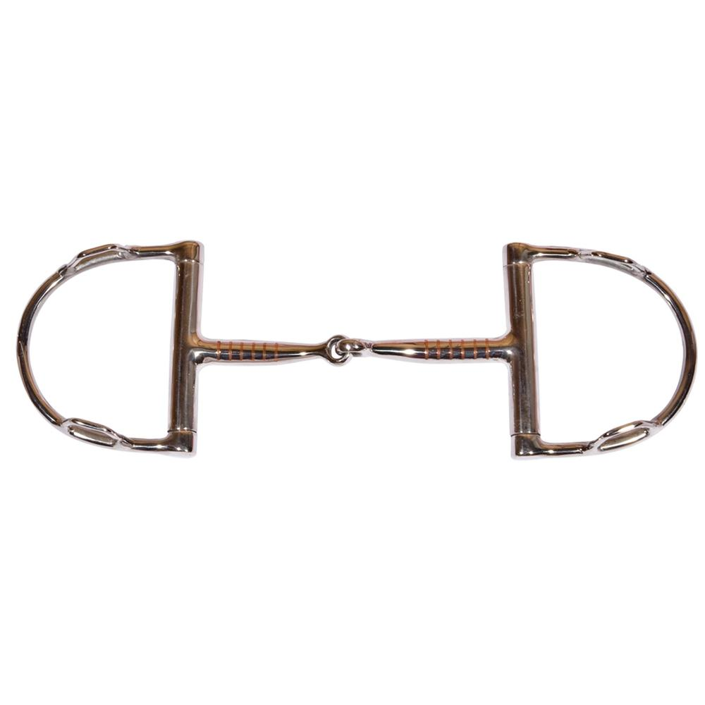 FES Curved Copper Inlay D Ring Snaffle Bit with Hooks